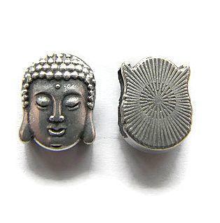 Schuif Kraal Buddha Hoofd voor 10mm plat leer