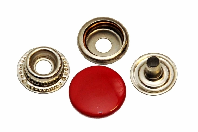 Leder drukknopen Rood 15mm dia (10 sets)