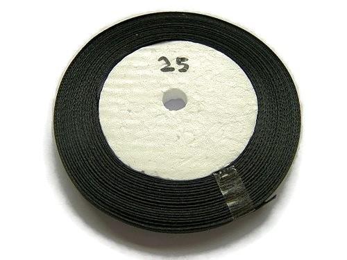 No.25 Zwart Satijnlint 6mm (per rol)