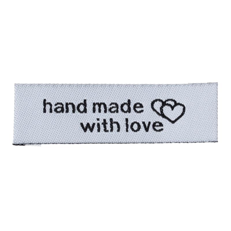 VOORDEELVERPAKKING 50 stuks Textiel Label Wit, Hand Made With Love