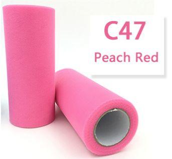 Tule Peach Red 15cm breed  rol 22 meter C47