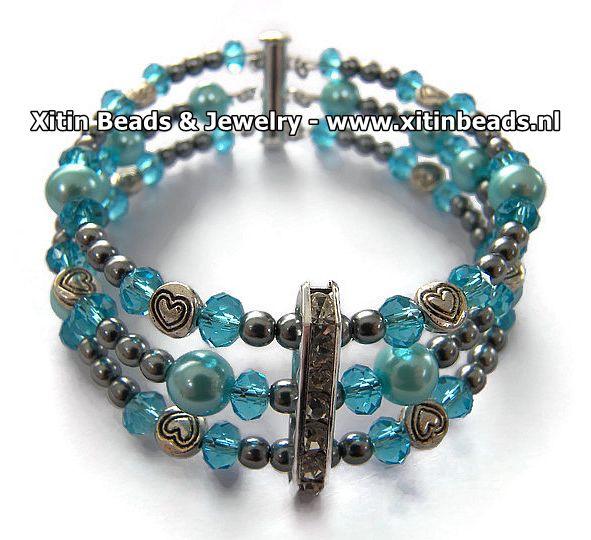 Xitin 3 rijen Armband met Magneetsluiting Blauw
