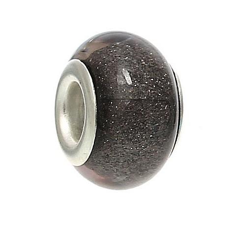 Resin kraal Pandora Style Antraciet glitter