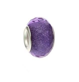 Resin kraal Pandora Style Purple glitter