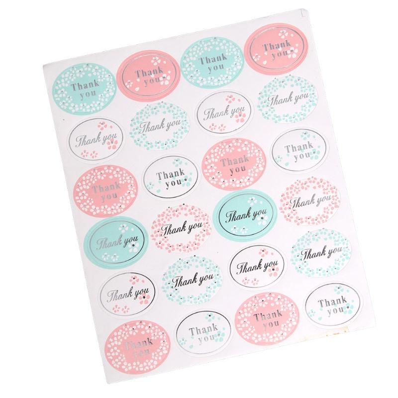 VOORDEELVERPAKKING 10 vellen Stickers Thank You, Ovaal met ZILVERKLEURIGE tekst