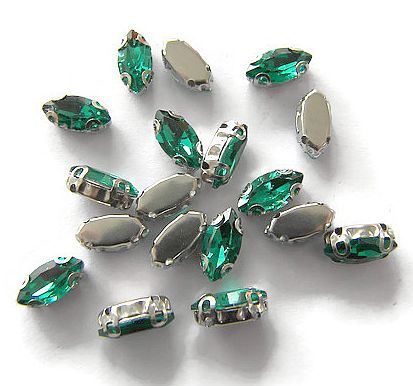 Navette strass Malachite Green  5x10mm Silver Plated (5st.)