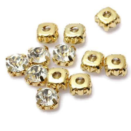 Mesh strass Crystal 6mm Gold Plated (10st.)