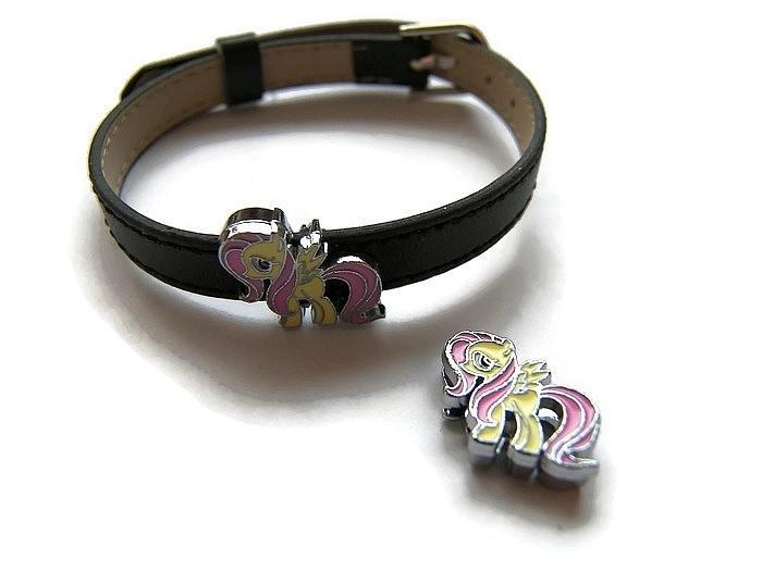 Slider kraal Little Pony Yellow Pink voor 8mm plat leer/koord