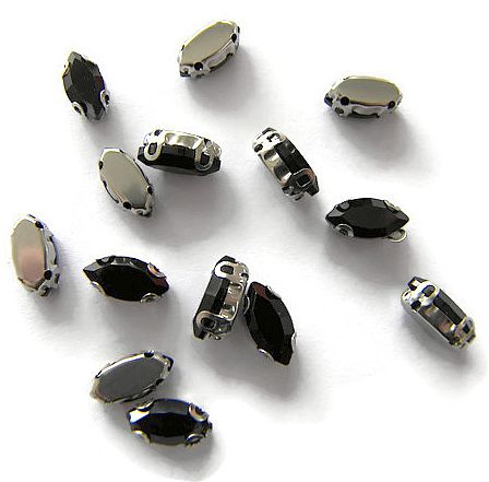 Navette strass Jet Black  5x10mm Silver Plated (5st.)