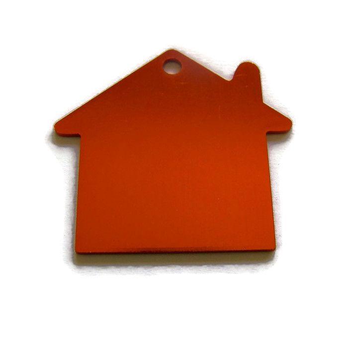 VOORDEELVERPAKKING 15 stuks Tag Huisje Groot Oranje/Rood aluminium