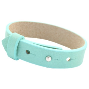 Cuoio Armband Leer 15mm Aqua Mist Blue
