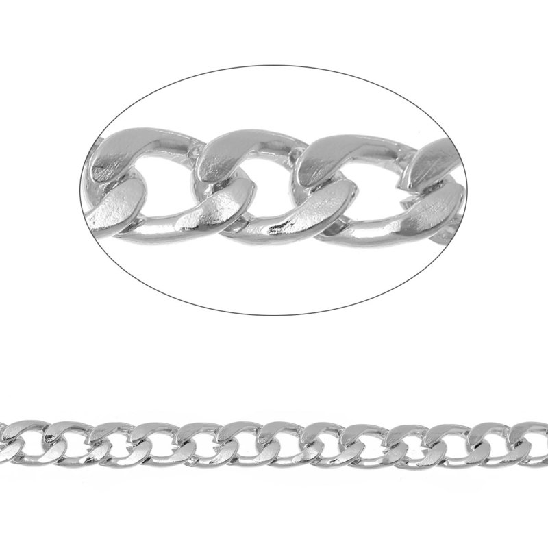 Jasseron Silver Tone grote schakel 11x8mm