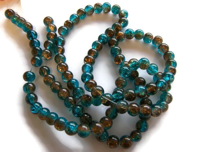 Crackle kraal Bruin / Aqua Blauw (PER STRENG)
