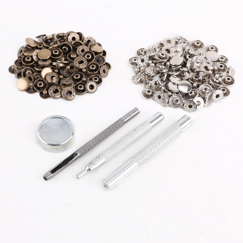 10mm Drukknopenset Zilver en Bronskleurig  met Toolset