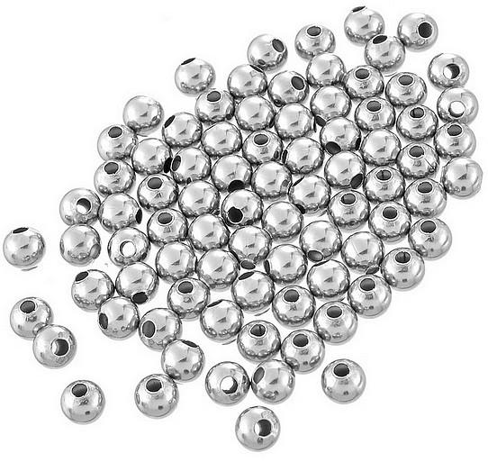 VOORDEELVERPAKKING 20 stuks Kraal RVS rond 8mm Silver Tone