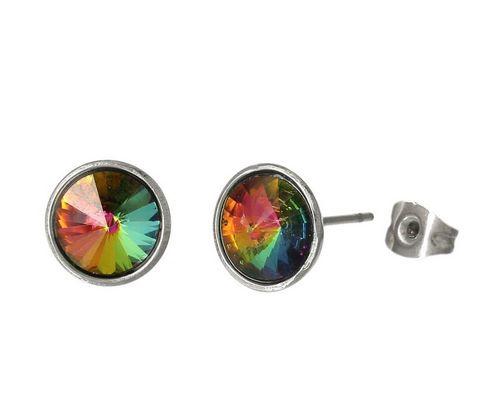 Oorbellen RVS met multicolor steentje