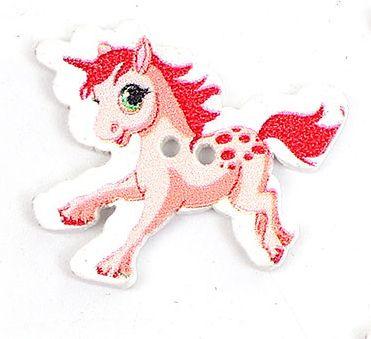 Knoop Hout Eenhoorn Pony Rood
