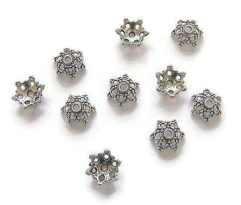 Kralenkapjes grote Bloem Antique Silver (10st.)