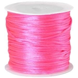 Satijnkoord Neon Roze 1mm dik