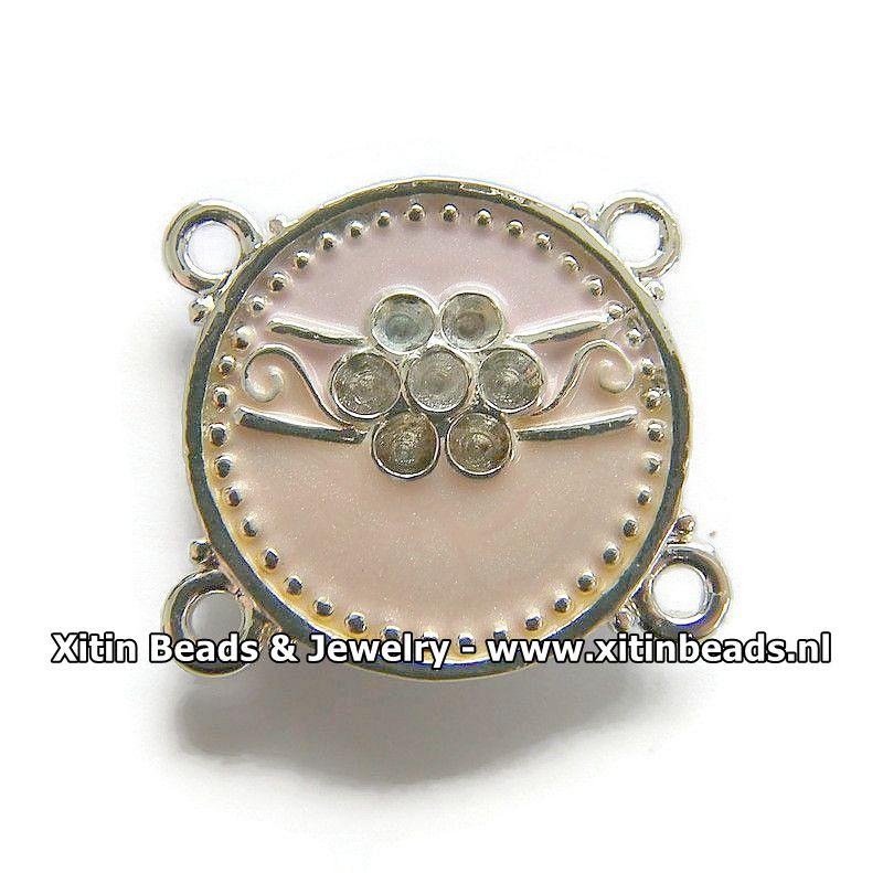Connector Dolce Luna Emaille met Bloem in Roze tinten