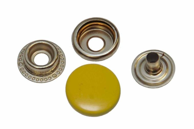 Leder drukknopen Geel 15mm dia (10 sets)