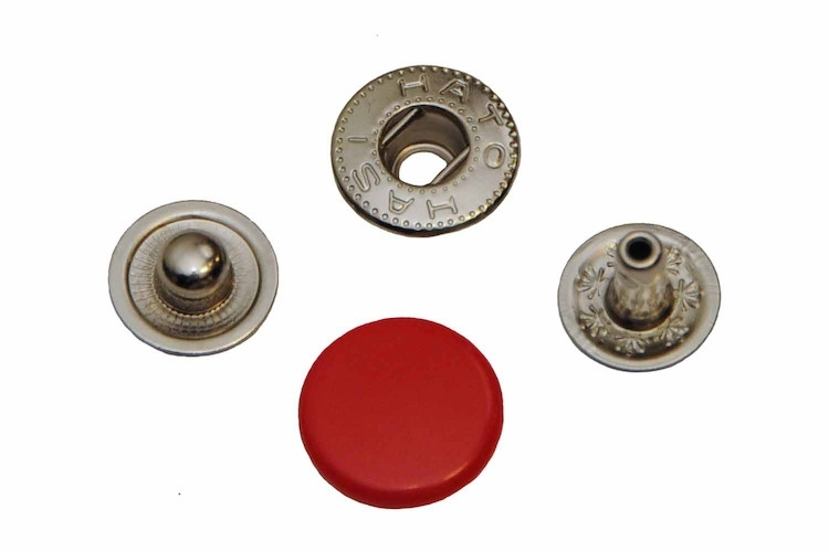 Leder drukknopen Rood 12mm dia (10 sets)