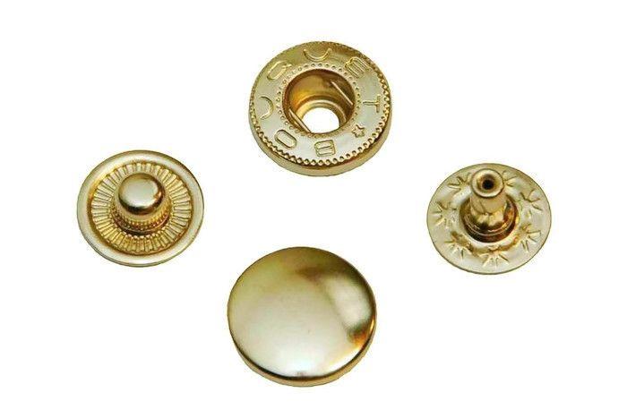 Leder drukknopen antiek goud kleur 12mm dia (10 sets)
