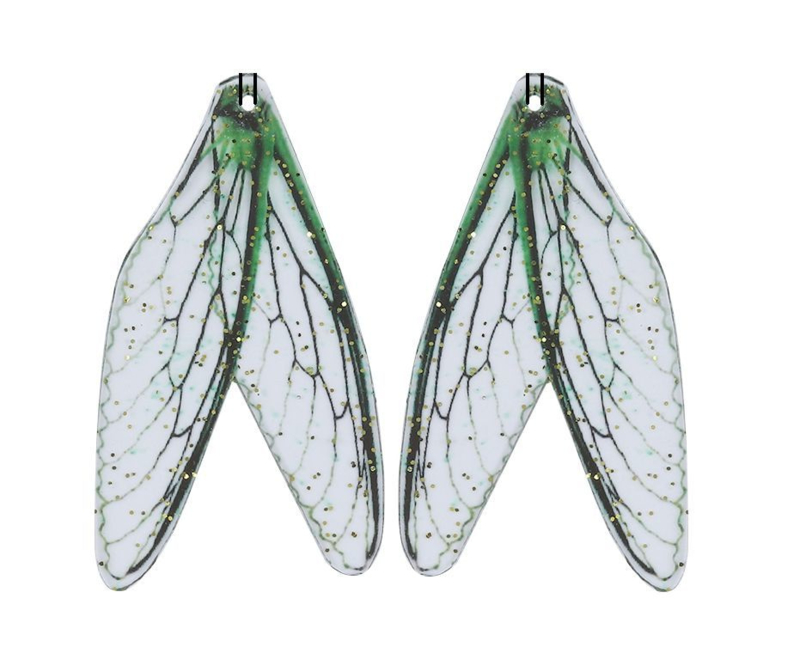 Resin Dragonfly Wings Transparant Green (2st)
