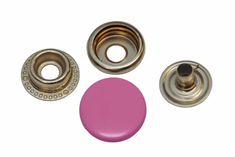 Leder drukknopen Roze 15mm dia (10 sets)
