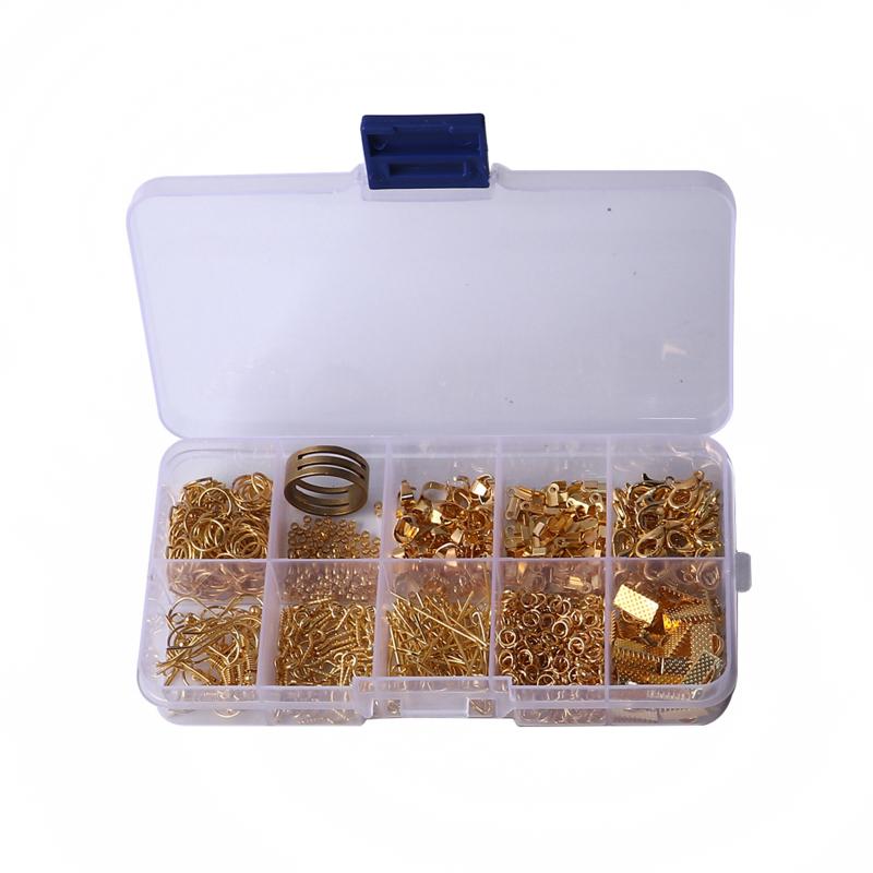 Set met diverse basismaterialen om zelf sieraden te maken gold plated