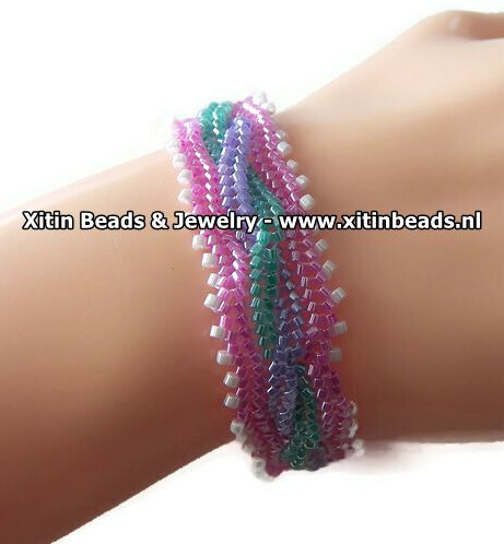 Xitin Twisted Kabel Armband Roze, Lila, Groen, Wit