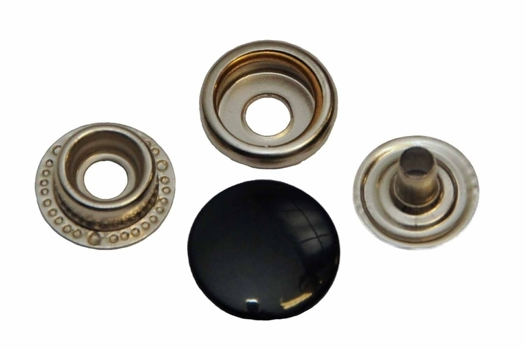 Leder drukknopen Zwart 15mm dia (10 sets)