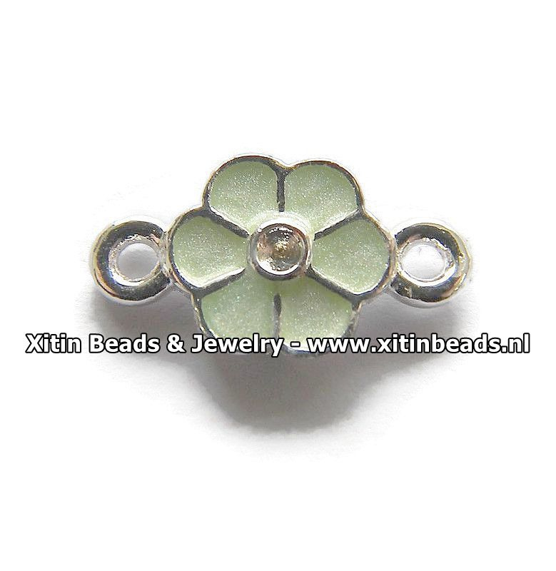 Connector Dolce Luna, Emaille Bloem Mint Groen Mini