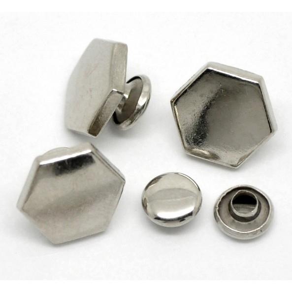 Rivet Studs Hexagon Silvertone (2st.)