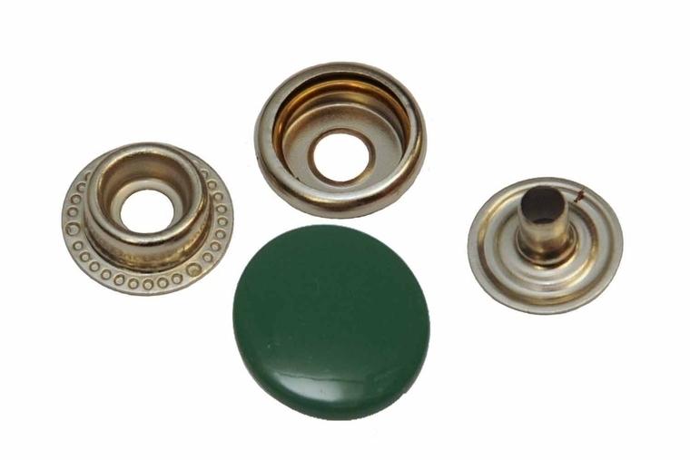 Leder drukknopen Donker Groen 15mm dia (10 sets)
