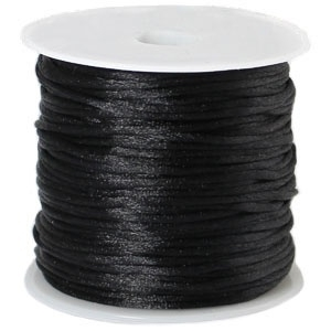 Satijnkoord Zwart 1mm dik