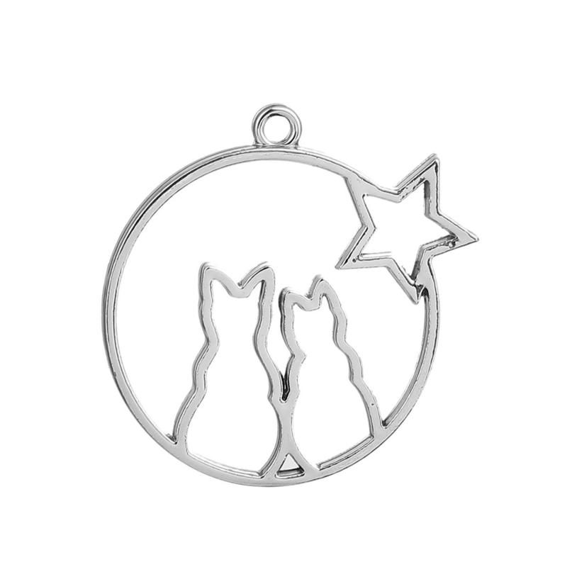 Resin Hanger Rond met Katten en Ster Silver Plated