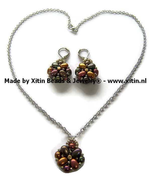 Samos Beaded bead Metallic Iris  Jewelry Set,  Handmade