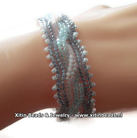 Xitin Twisted Kabel Armband Grijs, Roze, Blauw, Wit