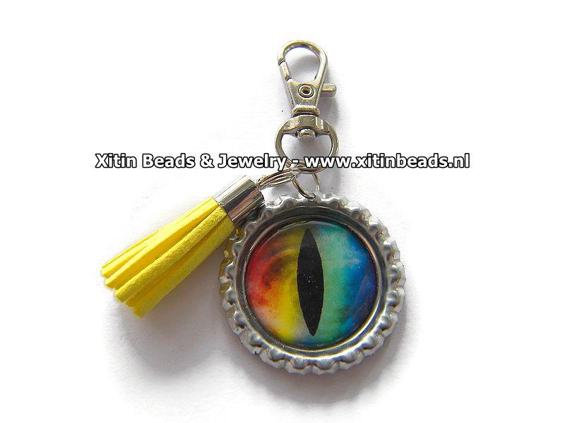 Sleutelhanger Dragon Eye Rainbow / Tassel Yellow