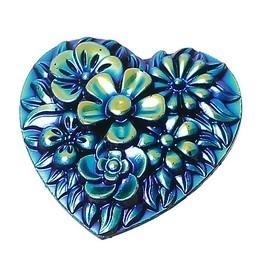 Resin cabochon 25mm Hart met bloemen blauw/goud