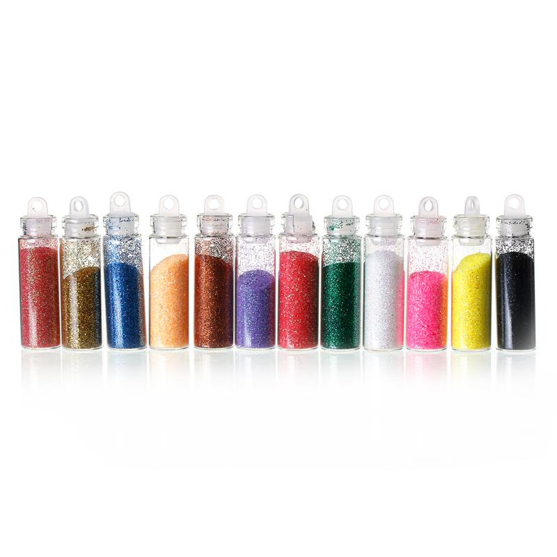 Setje met 12 kleuren glitters (fijn)