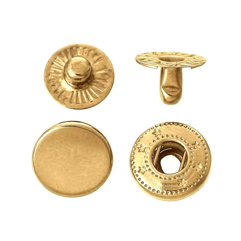 Leder drukknopen 10mm dia Goudkleur (10 sets)