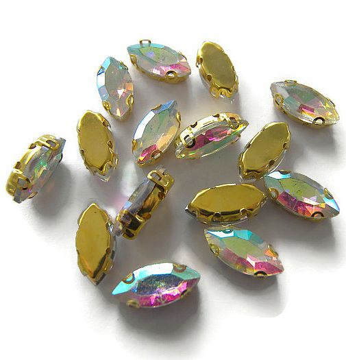 Navette strass Crystal AB  7x15mm Gold Plated (5st.)