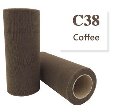 Tule Coffee Brown 15cm breed  rol 22 meter C38