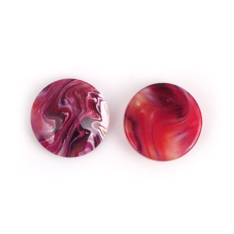 Resin Cabochon Rond, Red Wine Inkspot 18mm