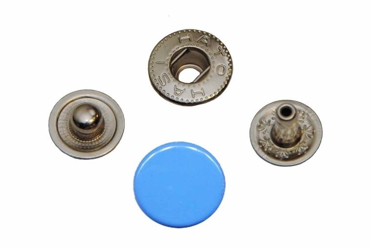 Leder drukknopen Blauw 12mm dia (10 sets)