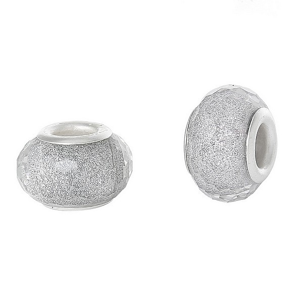 Resin kraal Pandora Style silver glitter