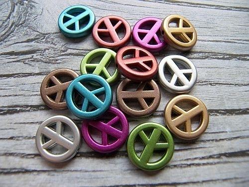 Peace kralen Acryl Metallic Mix (14st)