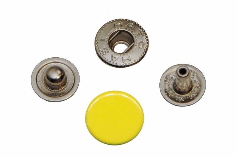 Leder drukknopen Geel 12mm dia (10 sets)